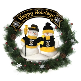 Boston Bruins Snowman Wreath