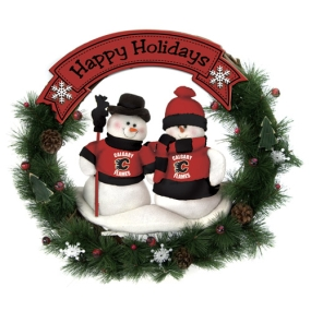 Calgary Flames Snowman Wreath