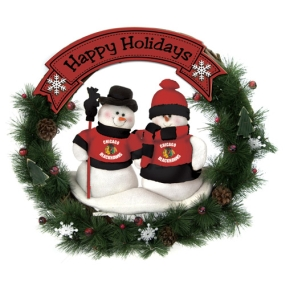 Chicago Blackhawks Snowman Wreath