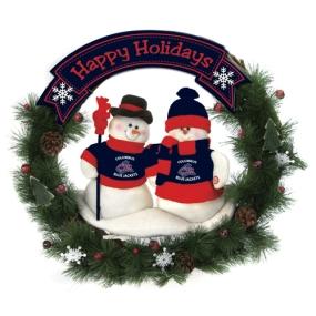 Columbus Blue Jackets Snowman Wreath