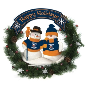 New York Islanders Snowman Wreath