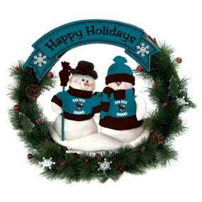 San Jose Sharks Snowman Wreath