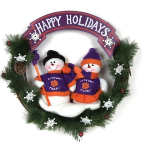 Clemson Tigers Snowman Wreath