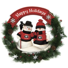 Georgia Bulldogs Snowman Wreath