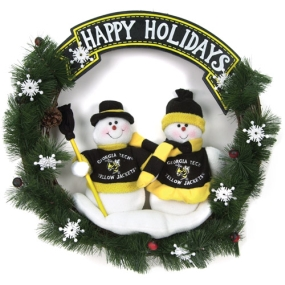 Georgia Tech Yellow Jackets Snowman Wreath