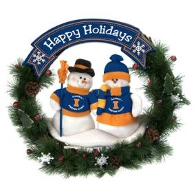 Illinois Fighting Illini Snowman Wreath