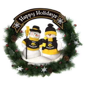 Iowa Hawkeyes Snowman Wreath