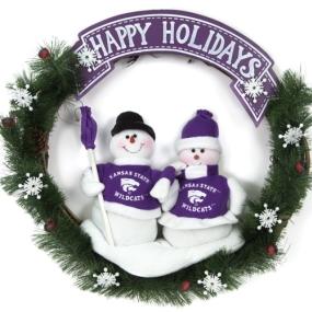 Kansas State Wildcats Snowman Wreath