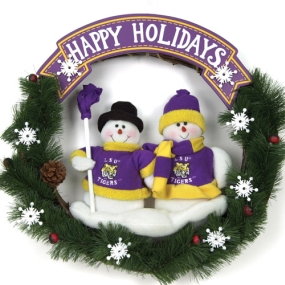 LSU Tigers Snowman Wreath