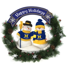 Michigan Wolverines Snowman Wreath