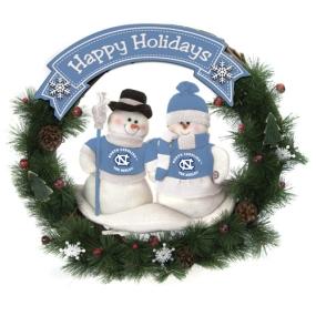 UNC Tar Heels Snowman Wreath