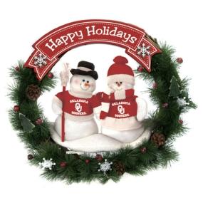 Oklahoma Sooners Snowman Wreath