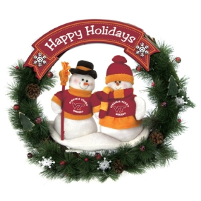 Virginia Tech Hokies Snowman Wreath