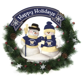 Washington Huskies Snowman Wreath