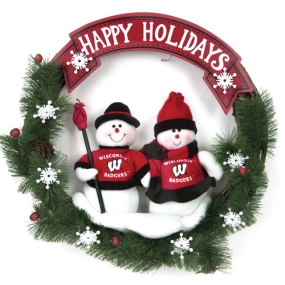 Wisconsin Badgers Snowman Wreath