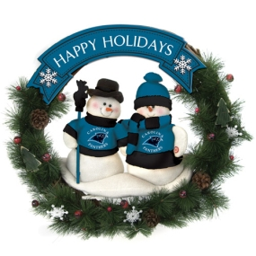 Carolina Panthers Snowman Wreath