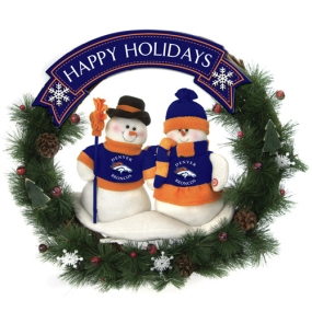 Denver Broncos Snowman Wreath