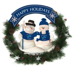 Detroit Lions Snowman Wreath
