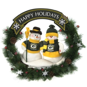 Green Bay Packers Snowman Wreath