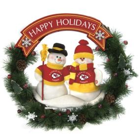 Kansas City Chiefs Snowman Wreath
