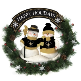 New Orleans Saints Snowman Wreath