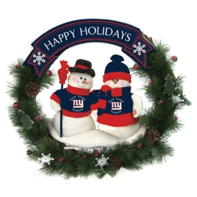 New York Giants Snowman Wreath