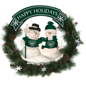 New York Jets Snowman Wreath