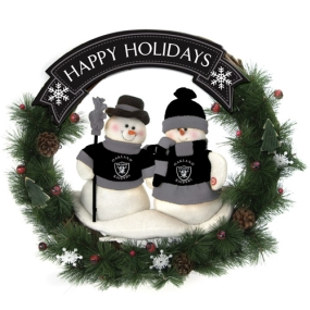 Oakland Raiders Snowman Wreath