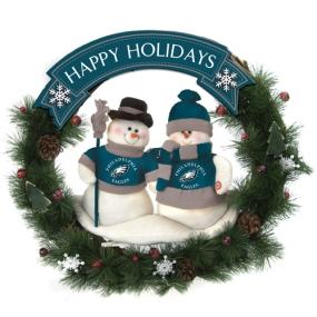 Philadelphia Eagles Snowman Wreath