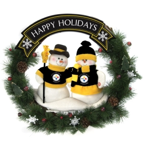 Pittsburgh Steelers Snowman Wreath