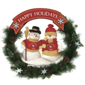 San Francisco 49ers Snowman Wreath