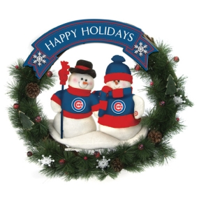 Chicago Cubs Snowman Wreath