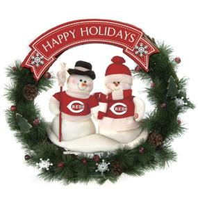 Cincinnati Reds Snowman Wreath