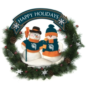 Florida Marlins Snowman Wreath