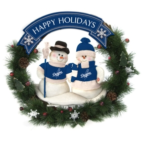 Los Angeles Dodgers Snowman Wreath