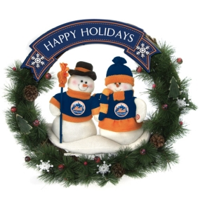 New York Mets Snowman Wreath