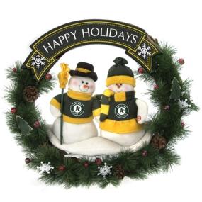 Oakland A's Snowman Wreath