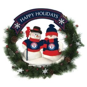Texas Rangers Snowman Wreath