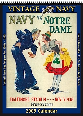 Navy Midshipmen 2009 Vintage Football Program Calendar