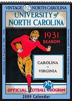 North Carolina Tar Heels 2009 Vintage Football Program Calendar