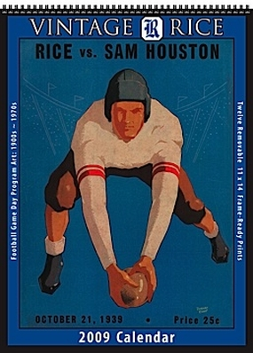Rice Owls 2009 Vintage Football Program Calendar