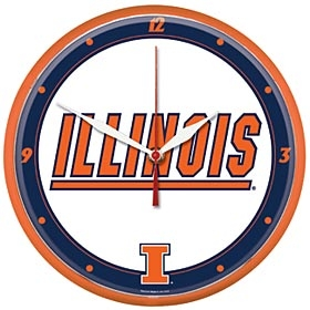 Illinois Fighting Illini Round Clock