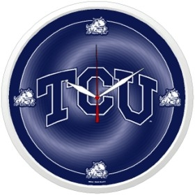 TCU Horned Frogs Round Clock
