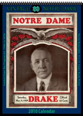 Notre Dame Fighting Irish 2010 Vintage Football Program Calendar