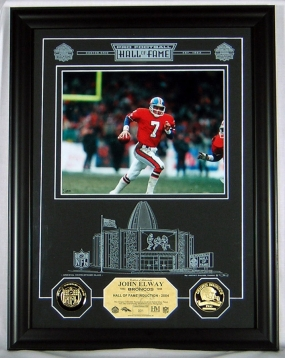 John Elway HOF Archival Etched Glass Photomint