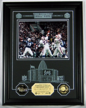 Johnny Unitas HOF Archival Etched Glass Photomint