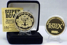 24kt Gold Super Bowl X flip coin