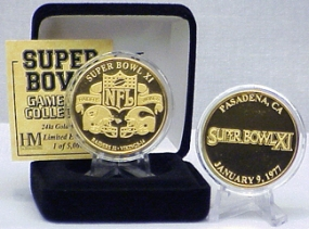 24kt Gold Super Bowl XI flip coin