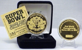 24kt Gold Super Bowl I flip coin