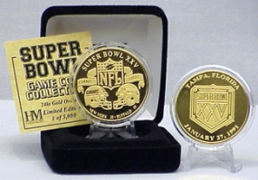 24kt Gold Super Bowl XXV flip coin